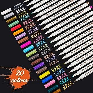 Premium Metallic Marker Pens, Sunshilor Set of 20 Assorted Colors Fine Point Paint Pen for Black Paper, Scrapbooking Crafts, DIY Photo Album, Art Rock Painting, Easter Egg, Metal, Ceramics, Glass
