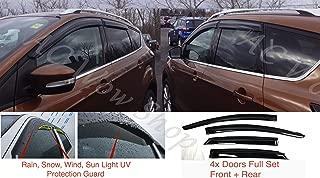 AC WOW 4x Wind Deflectors Compatible with Seat Leon Mk2 Cupra 5-door 2005 2006 2007 2008 2009 2010 2011 2012 Acrylic Glass PMMA Visors Rain Snow Sun Weather Shields Guards