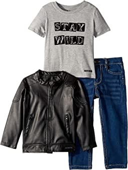 Poly Faux Leather Biker Jacket with Heather Jersey Top with Flocking, Stretch Denim Jeans (Toddler)