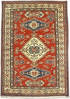 Pak Persian Rugs Traditional Afghan Handmade Kazak Rug, Wool, Red/Rust, 4' x 5' 6