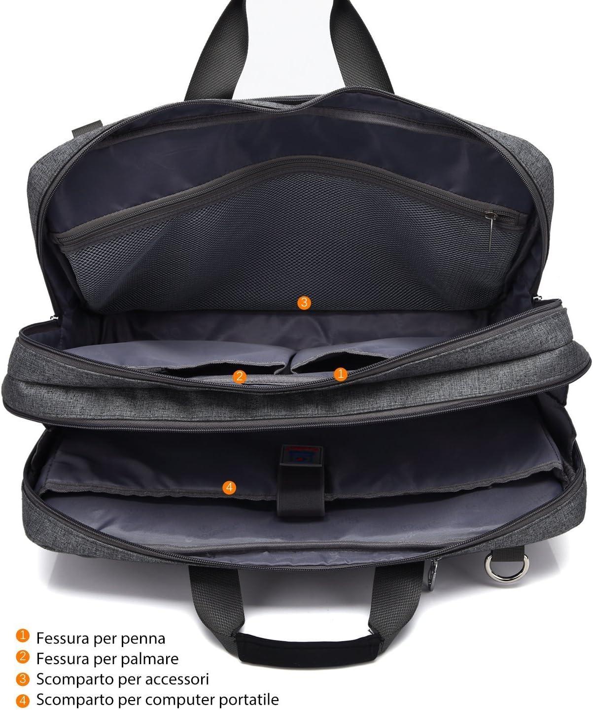 avec poign/ée et bandouli/ère pour ordinateur portable 17,3/pouces de travail pour homme et femme noir Noir 17,3 Pollici convertible Coolbell Sac Multifonction de voyage