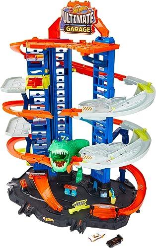 Hot Wheels City Super Dino Robot Garage avec T-Rex, pour contenir jusqu'à 100 petites voitures, plusieurs étages et m...