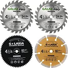 "GALAX PRO Saw Blade Set, Pack Of 4 Assorted 60T HSS Metal/24T TCT Wood/Diamond 4-1/2-Inch Circular Saw Blade with 3/8"" Arb..."