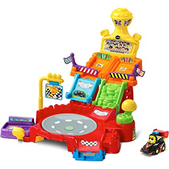 VTech Toot Toot Drivers Spin Raceway Baby Car Track Toys, Baby Interactive Toys for Toddlers Compatible with Toot Toot Cars, Car Track For Kids Boys &
