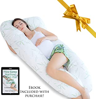 Essentials. Co Ultra-Luxury 60″ Bamboo Pregnancy Pillow, U Shaped Full Body Maternity Pillow, Removable Cooling Hypoallergenic Pillow Cover