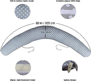 Pregnancy Pillow | Nursing Pillow | Breastfeeding Pillow | Maternity Pillow | Cotton Satin Cover, Virgin Ball Fiber Filling |