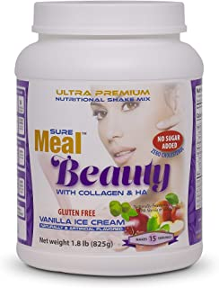 SureMeal Beauty Meal Replacement – with Collagen, HA and Whey Protein Isolate. Vanilla Flavor Naturally Sweetened with Stevia, Gluten-Free, 1.8 lbs Powder, 15 Servings