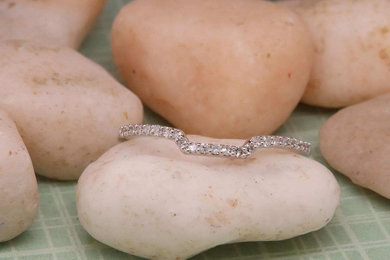 Dazzlingrock Collection 0.15 Carat (ctw) 14K Gold Round Diamond Ladies Wedding Stackable Band Enhancer Guard Ring