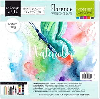 Vaessen Creative Florence akvarellpapper 12 x 12, intensivt vitt, 300 GSM, konstkvalitet, texturerad yta, 50 ark för målni...
