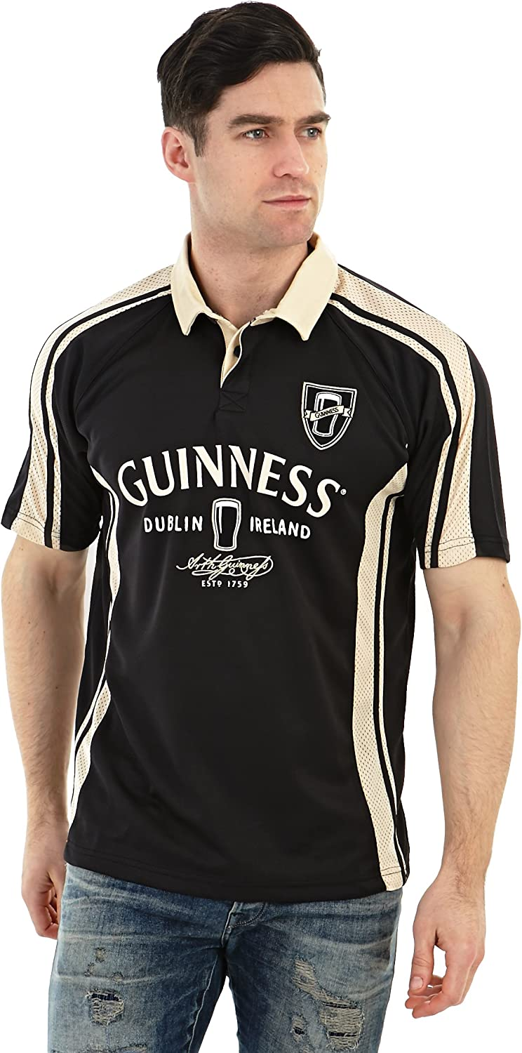 Guinness Arthur Signature Performance Rugby Jersey  Black and Cream Polyester Short Sleeve Polo Shirt