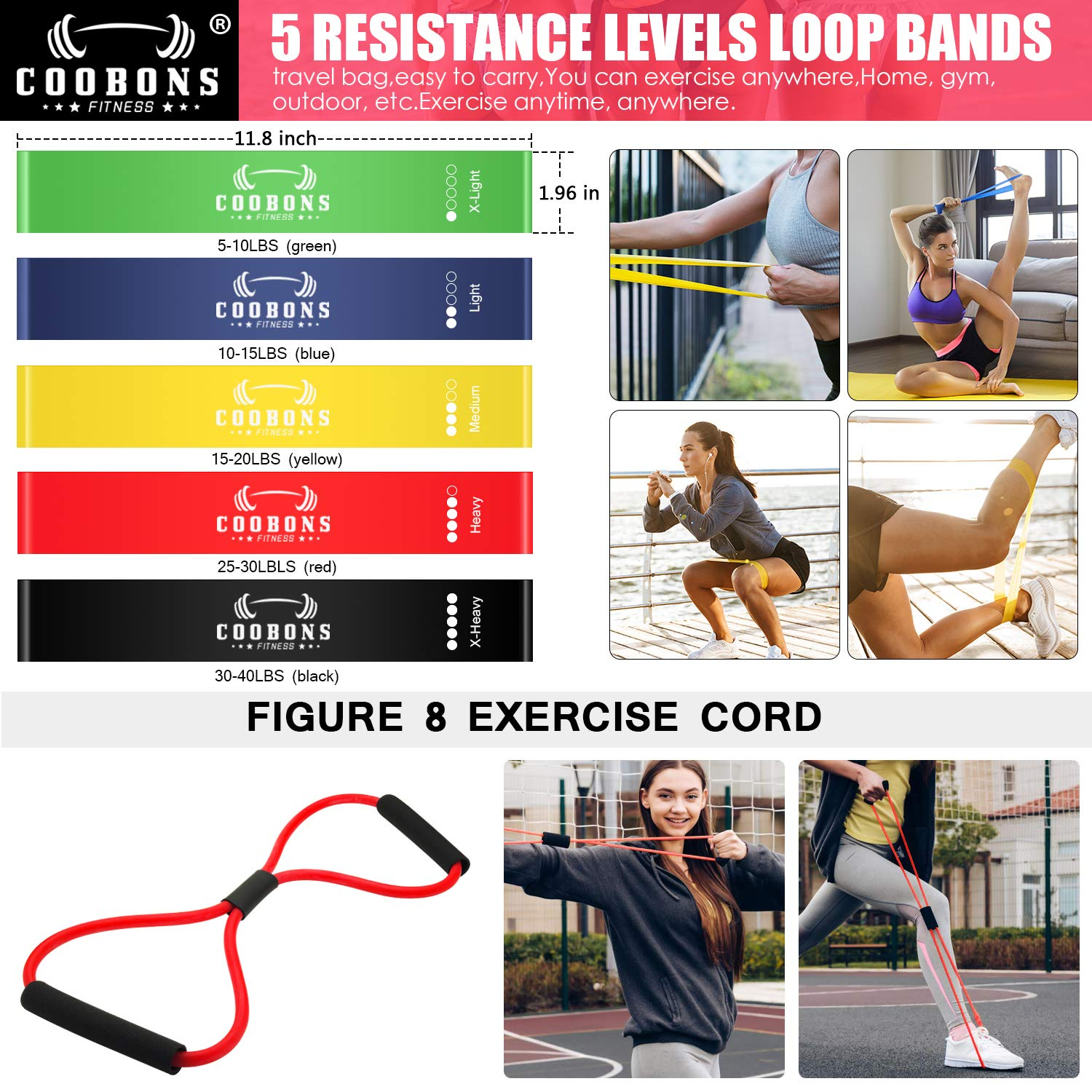 COOBONS FITNESS Resistance Bands Set Carrying Case /& Guide Ebook Ankle Straps Including 5 Stackable Exercise Bands with Door Anchor