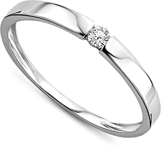 Orovi ladies white and yellow gold diamond solitaire engagement ring 9 ct (375) diamond 0.05 ct