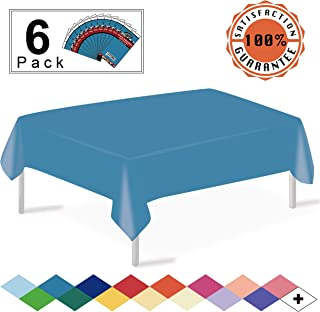 Turquoise Plastic Tablecloths Disposable Table Covers 6 Pack Premium 54 x 108 Inches Table Cloth for Rectangle Tables up to 8 Feet and for Picnic Birthdays Weddings any Events Occasions, PEVA Material