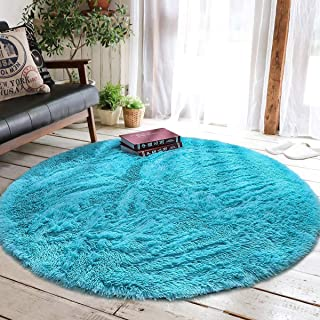 Junovo Round Fluffy Soft Area Rugs for Kids Girls Room Princess Castle Plush Shaggy Carpet Baby Room Decor, Diameter 4ft Blue
