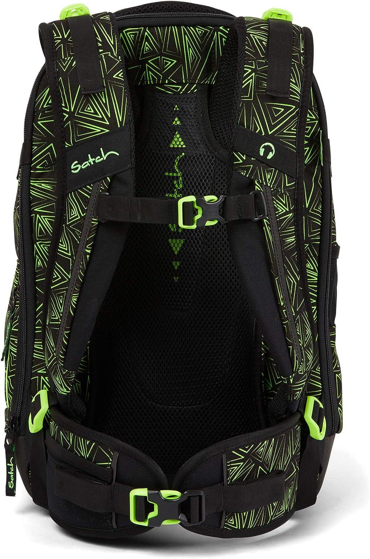 Satch match Schulrucksack - ergonomisch, erweiterbar auf 35 Liter, extra Fronttasche - Green Bermuda - Black