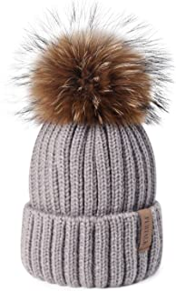 Winter Knit Hat Detachable Real Raccoon Fur Pom Pom Womens Girls Warm Knit Beanie Hat