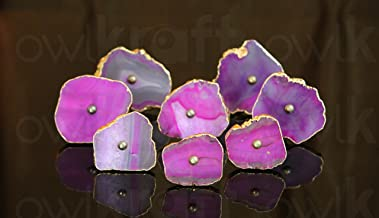 Krishna Mehta Gorgeous Agate Slice KNOBS for CABINETS and Drawers - Set of 6 (Pink)