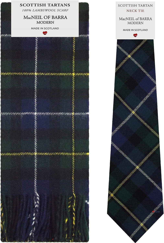 MacNeil Of Barra Modern Tartan Plaid 100% Lambswool Scarf & Tie Gift Set