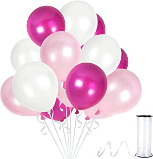 Pack of 100 White Magenta and Pink Metallic Latex Balloons for Bridal or Baby Shower Girls Tropical Colored Birthday Decorations Garland Kit Fairytale Wedding