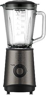 BLACK+DECKER BXJB800E - Blender mixeur 800W, bol en verre de 1.5L, 3 vitesses + Pulse, 4 lames en acier inoxydable, noir e...