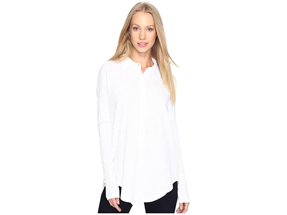 Mod-o-doc Textured Slub Stripe Back Crossover Button Front Shirt (White) Women