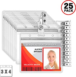 MIFFLIN Horizontal Plastic Card Holder with Metal Clip and Vinyl Straps (Clear, 3x4 Inch, 25 Pack), Waterproof PVC ID Badge Holder with Clip