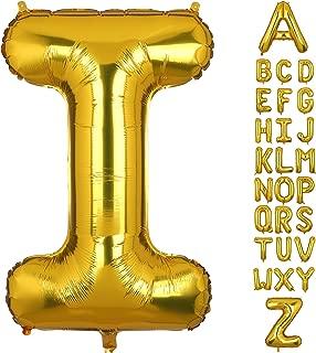 40 Inch Large Gold Letter I Foil Balloons Hellium Golden Big Alphabet Mylar Balloon for Birthday Party Decoration Custom Word