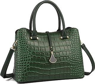 حقيبة يد وكتف جلدية عصرية للنساء بنمط جلد التمساح