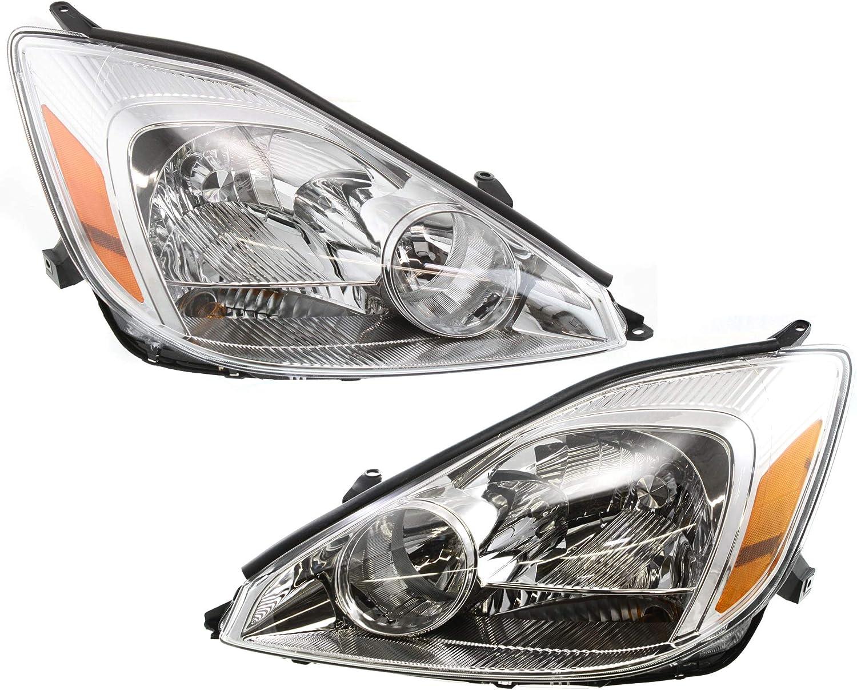 Evan-Fischer Headlight Set 日本全国 迅速な対応で商品をお届け致します 送料無料 of 2 Toyota with 2004-2005 Compatible