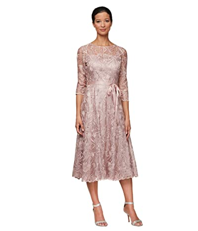 Alex Evenings Petite Midi Length Embroidered A-Line Dress with Tie Belt (Rose) Women