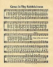Wallbuddy Great is Thy Faithfulness Hymn Sheet Music - Church Sheet Music - Christian Hymn Print (11 x 14, Parchment)