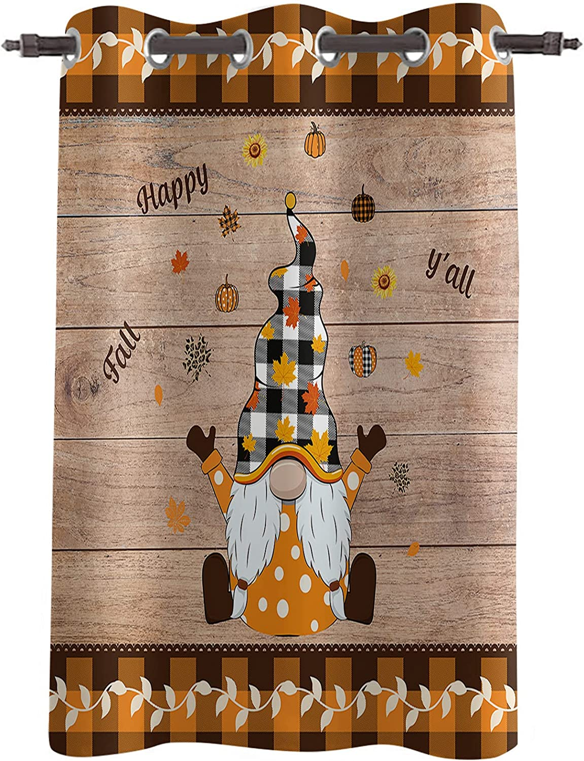 Blackout Window Curtain Thanksgiving Cartoon Maple Clearance shopping SALE Limited time Gnome Autumn