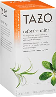 TazoRefresh Mint Enveloped Hot Tea Bags Herbal, Caffeine Free, Non GMO, 24 count, Pack of 6