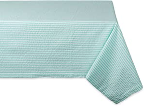 """DII Cotton Seersucker Striped Tablecloth for Weddings, Picnics, Summer Parties and Everyday Use, 60x84"""", Aqua Blue"""