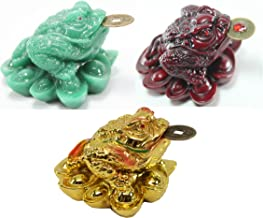 1 Red 1 Green 1 Gold Fortune Coin Money Toad/ Frog /Chan Chu~ Feng Shui Chinese Charm of Prosperity Decoration Gift US Seller