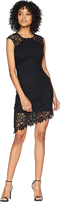 Asymmetrical Lace Dress w/ Diagonal Hem