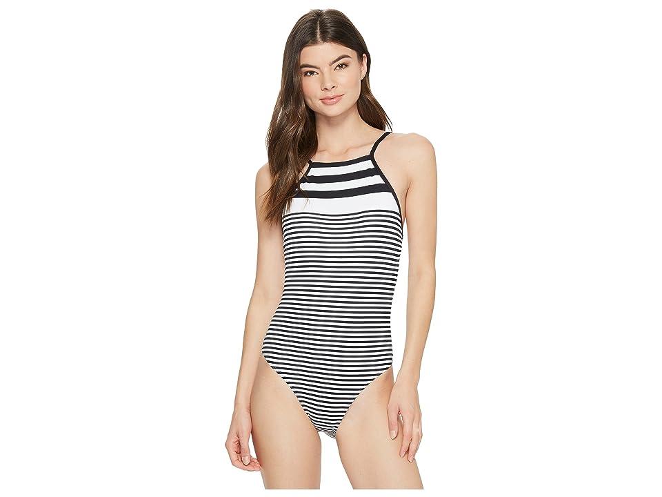 LAUREN Ralph Lauren Modern Marine Shaping High Neck Lace Back Mio One-Piece (Black/White) Women's Swimsuits One Piece
