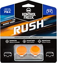 KontrolFreek Rush Performance Thumbsticks for PlayStation 4 (PS4) Controller | Performance Thumbsticks | 2 Mid-Rise, Concave | Orange/White