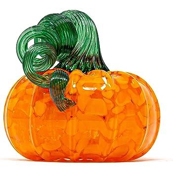 "Luke Adams Glass | 3.5"" Mini Glass Pumpkin | Handmade Table Top Home Décor | Outdoor Collectible Sculpture (Brilliant Yellow)"