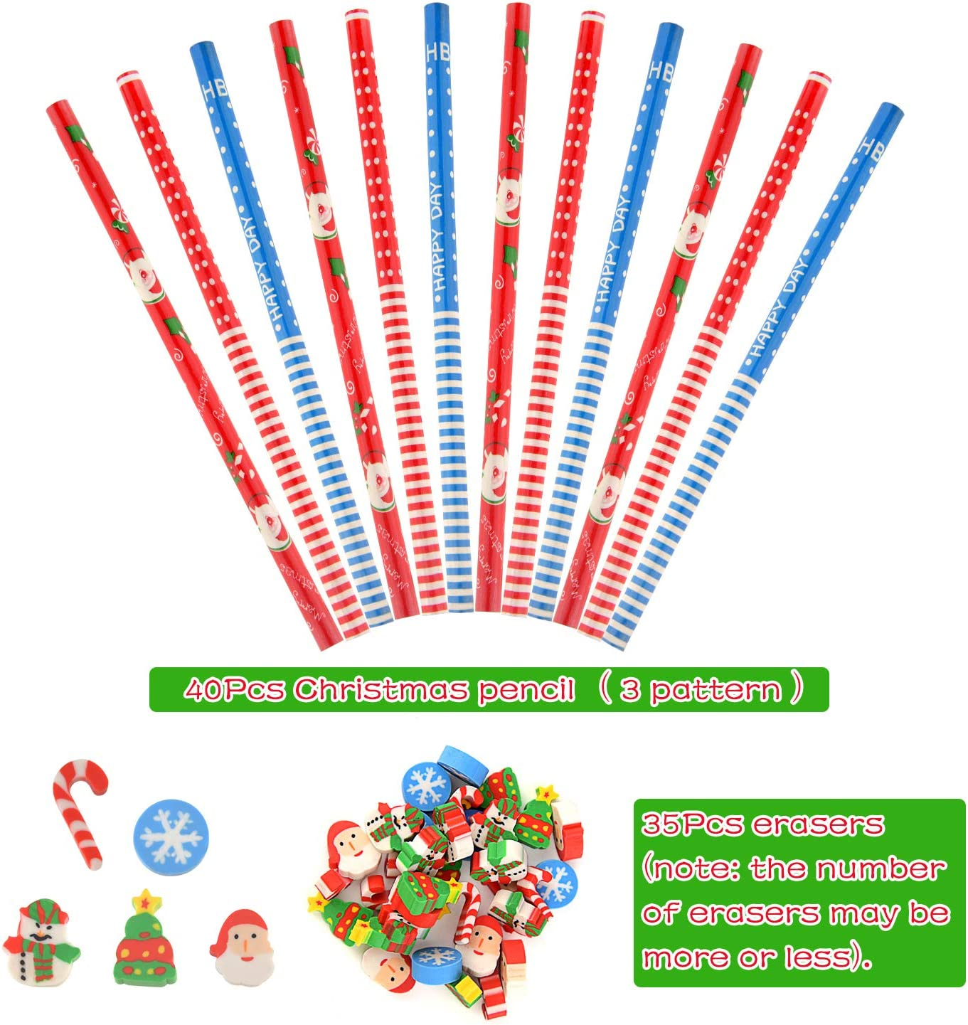 TUPARKA 75 Pcs Christmas Pencil Erasers Set 40Pcs Christmas Pencils with 35Pcs Erasers Fun Stationary Equipment for Party Bag Fillers Party Favor Supplies Funny Gift Idea
