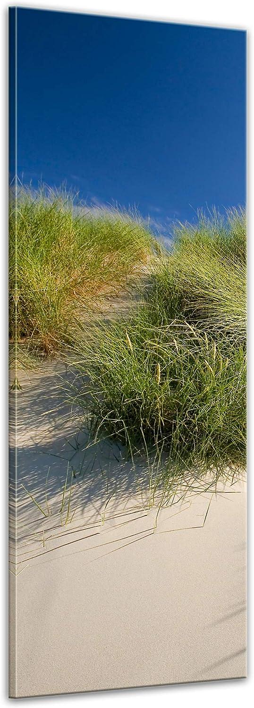 Kunstdruck - Dünengräser - Bild auf Leinwand - 40x120 cm einteilig - Leinwandbilder - Urlaub, Sonne & Meer - Nordsee - Dünen mit Strandgräsern - Idylle - Erholung B07NNVKM9N