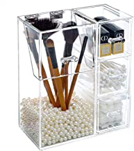 V-HANVER Rangement pour Crayons Sourcils Étui Maquillage Acrylique Transparent, Porte-Pinceau Maquillage Couvercle 3 Tiroi...
