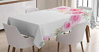 Ambesonne Shabby Chic Decor Tablecloth, Floral Wreath in Half Blossoming Romantic Bridal Roses Peonies Feminine, Dining Room Kitchen Rectangular Table Cover, 52