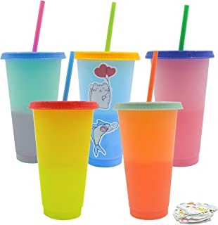 Color Changing Cups (5 pack) includes a 50 piece Vinyl Sticker Set, Kids Birthday Party Favor Cups, 24 oz Reusable Tumblers with Lids and Straws