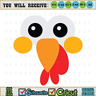 Diuangfoong Turkey Face Thanksgiving Cut File Vinyl Decal for Silhouette Cameo Cricut Iron On Transfer On Mug Shirt Fabric Design for Kids