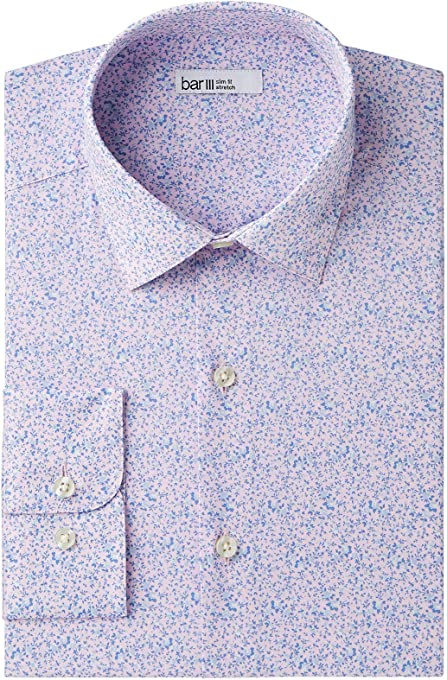 Bar III Purple Mens Size 14 1/2 Slim Fit Floral Stretch Dress Shirt
