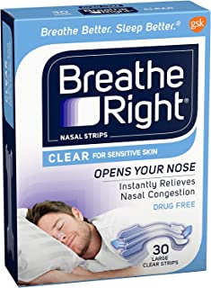 Breathe Right Breathe Right Nasal Strips Clear Sensitive Skin, Large, 30 each