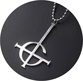 Fashion Necklace Cosplay Ghost Inverted Cross Pendant Men's Punk Necklace