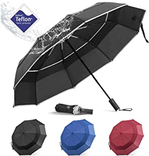BANANA Windproof Folding Rain Umbrella - Compact Durable Portable Travel Size Unbrella Auto Close/Open Double Canopy Vented with Teflon Coating Collapsible Lightweight Umbrellas for Mens