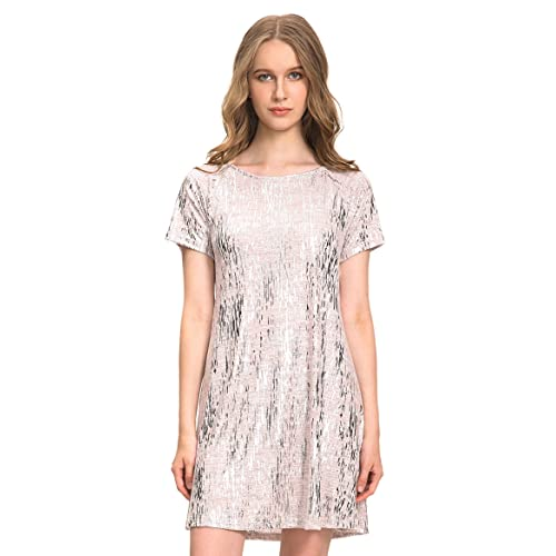 6d0d7a9c1f7 OEUVRE Women s Plus Size Glitzy Causal Tunic Dress Comfy T-Shirt Dress  Outfits